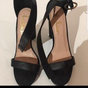 Lulu's vegan leather block heel